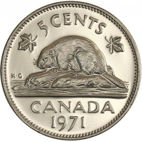 1971 Canadian 5-Cent Beaver Nickel Coin (Brilliant Uncirculated)