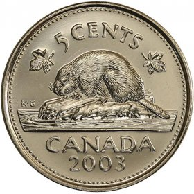 2003 Canadian 5-Cent Beaver, Old Effigy (Brilliant Uncirculated)