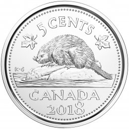 2018 Canadian 5-Cent Beaver Nickel Coin (Brilliant Uncirculated)