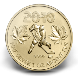 2010 Canada Fine Silver $5 Coin - Canadian Olympic Hockey Gold