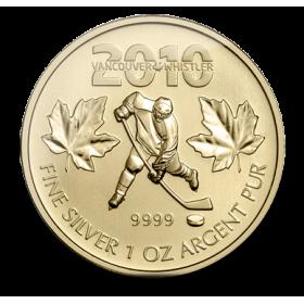 2010 Fine Silver 5 Dollar Coin - Canadian Olympic Hockey Gold