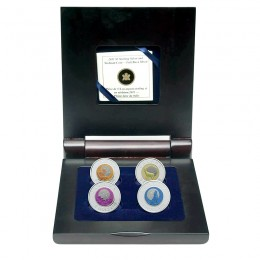2011-2012 Canadian $5 Full Buck Moon Sterling Silver & Niobium 4-Coin Set in Display Case