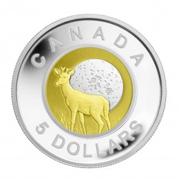 2011 Canadian $5 Full Buck Moon Sterling Silver & Niobium Coin