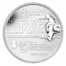 2012 Canada Fine Silver 5 Dollar Coin - 25th Anniversary of the Rick Hansen Man-In-Motion Tour