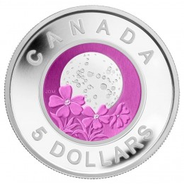 2012 Canadian $5 Full Pink Moon Sterling Silver & Niobium Coin