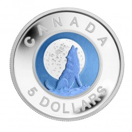 2012 Canada Sterling Silver and Niobium 5 Dollar Coin - Wolf Moon