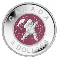 2013 Fine Silver 5 Dollar Coin - Mother and Baby Ice Fishing