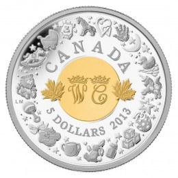 2013 Canada Fine Silver 5 Dollar Coin - Royal Infant with Toys