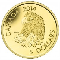 2014 Canada Pure Gold 5 Dollar Coin - Bald Eagle