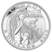 2014 Fine Silver 5 Dollar Coin - Tradition of Hunting: The Deer