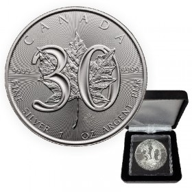2018 (1988-) Canadian $5 30th Anniversary of Silver Maple Leaf - 1 oz Fine Silver Coin (Limited Edition)