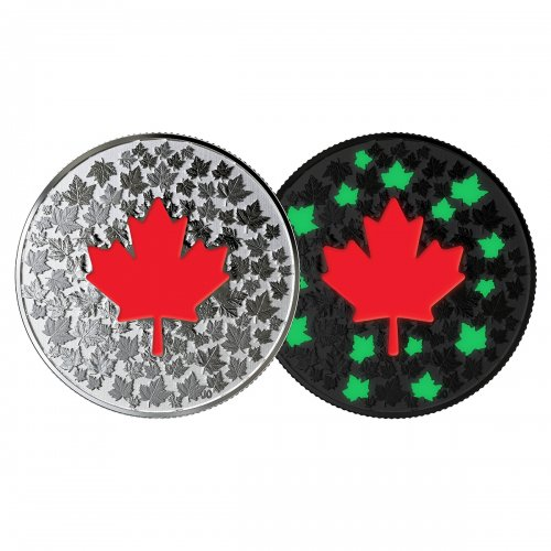 2018 Canadian $5 In Hearts Aglow  - Fine Silver Coin (Glow-In-The-Dark)