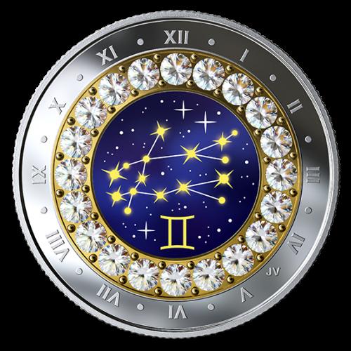 2019 Canadian $5 Zodiac Series: Gemini - Swarovski® Crystal & Fine Silver Coin