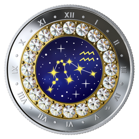 2019 Canadian $5 Zodiac Series: Aquarius - Swarovski® Crystal & Fine Silver Coin