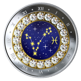 2019 Canadian $5 Zodiac Series: Pisces - Swarovski® Crystal & Fine Silver Coin