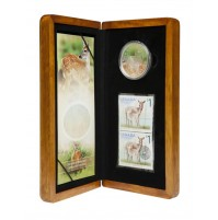 2005 Silver 5 Dollar Coin and Stamp Set - White-tailed Deer and Fawn