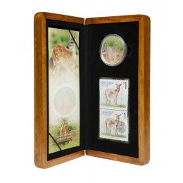 2005 Canada Limited Edition Fine Silver $5 Coin & Stamp Set - White-tailed Deer & Fawn