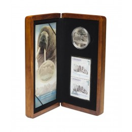 2005 Canada Limited Edition Fine Silver $5 Coin & Stamp Set - The Atlantic Walrus and Calf