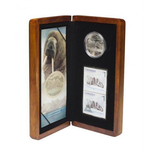 2005 Silver 5 Dollar Coin and Stamp Set - Walrus and Calf