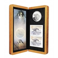 2006 Silver 5 Dollar Coin and Stamp Set - The Peregrine Falcon & Nestlings