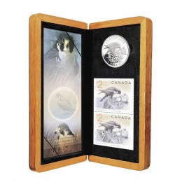 2006 Canada Limited Edition Fine Silver $5 Coin & Stamp Set - Peregrine Falcon & Nestlings