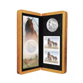 2006 Canada Limited Edition Fine Silver $5 Coin & Stamp Set - Sable Island Horse and Foal