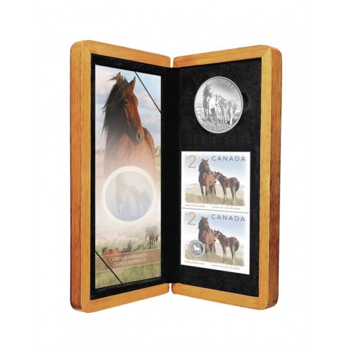 2006 Silver 5 Dollar Coin and Stamp Set - Sable Island Horse and Foal