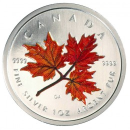 2001 Canadian $5 Coloured Silver Maple Leaf: Autumn 1 oz Fine Silver Coin