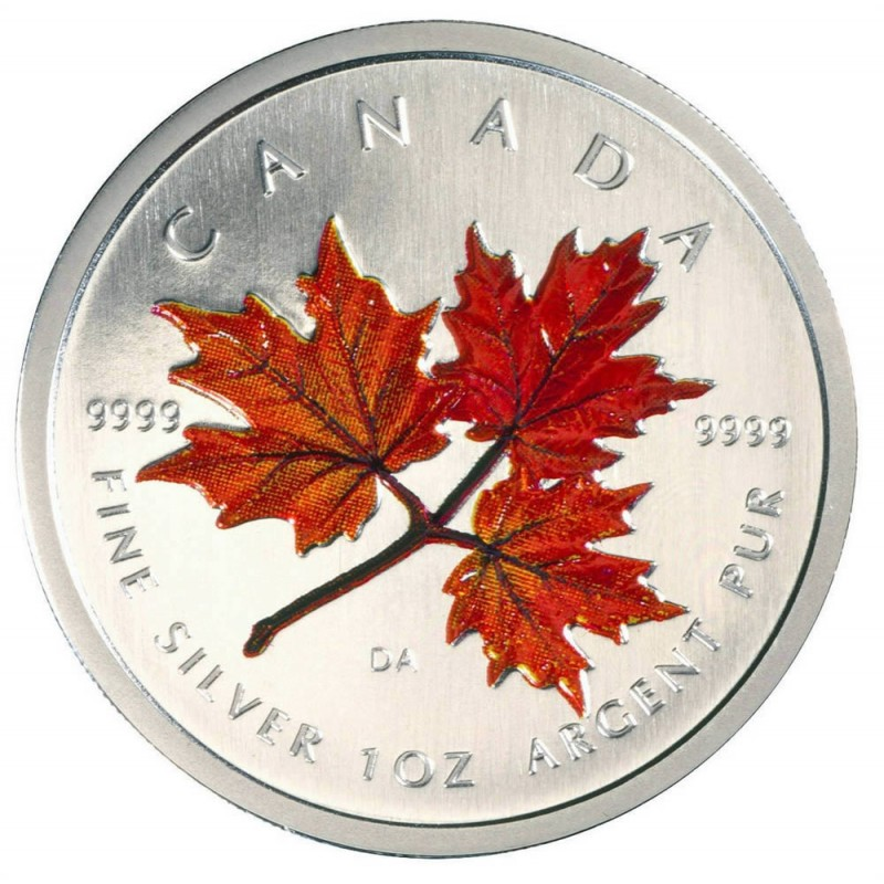 Canadian Silver Coin Colored Maple Leaf