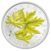 2006 Fine Silver 5 Dollar Coin - Coloured Maple Leaf: Silver Maple