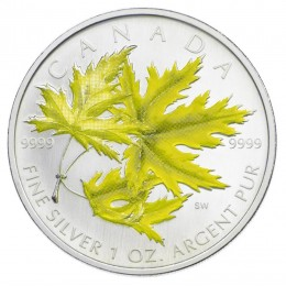 2006 Canadian $5 Coloured Silver Maple Leaf: Silver Maple 1 oz Fine Silver Coin