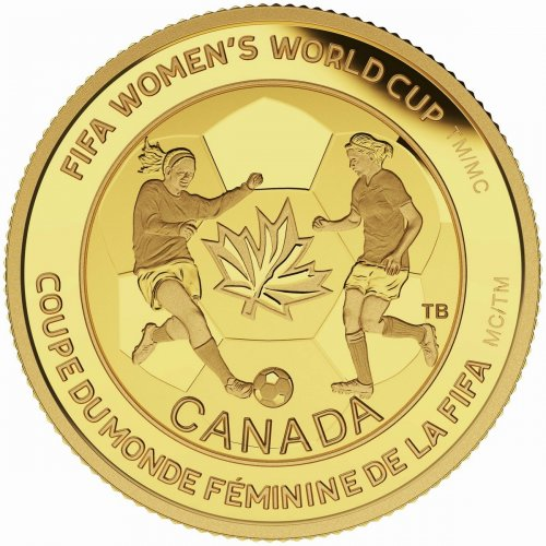 2015 Canadian $75 FIFA Women's World Cup: The Soccer Ball - 1/4 oz Pure Gold Coin