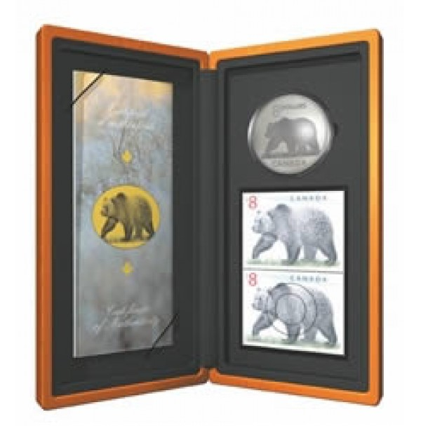 2004 Fine Silver 8 Dollar Coin and Stamp Set - Great Grizzly
