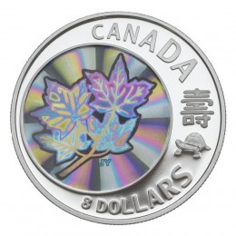 2007 Canadian $8 Maple of Long Life Pure Silver Hologram Coin