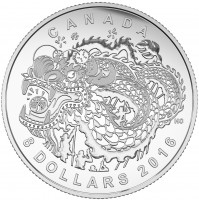2016 Fine Silver 8 Dollar Coin - Dragon Dance / No COA