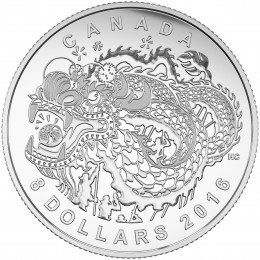 2016 Canadian $8 Dragon Dance Fine Silver Coin