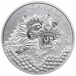 2018 Canadian $8 Dragon Luck Fine Silver Coin