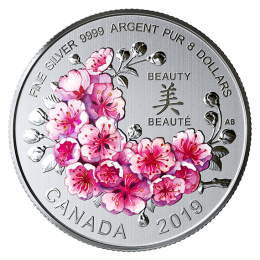 2019 Canadian $8 Brilliant Cherry Blossoms 1/4 oz Fine Silver Coloured Coin