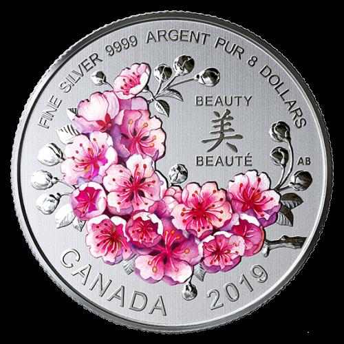 2019 Canadian $8 Brilliant Cherry Blossoms 1/4 oz Fine Silver Coloured Coin