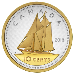 2015 Canadian 10-Cent Big Coin Series: Bluenose Schooner 5-ounce Fine Silver & Gold-plated Dime Coin