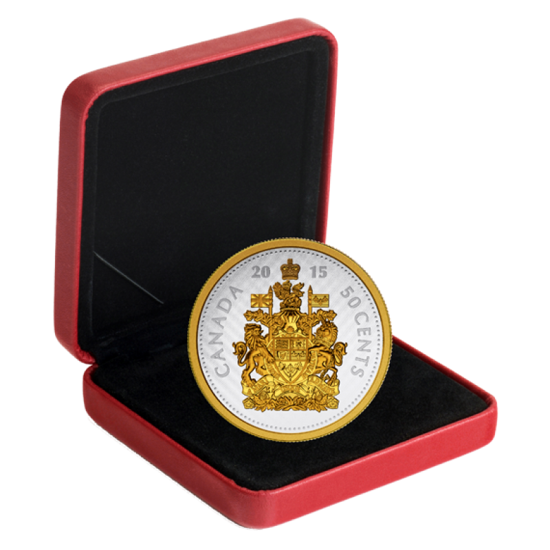 2015 Canadian 50 Cent Big Coin Series Coat Of Arms 5 Ounce Fine Silver Amp Gold Plated Coin