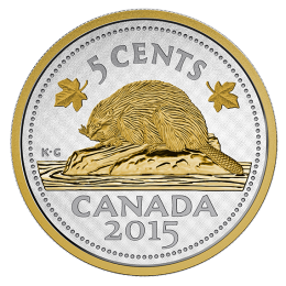 2015 Canadian 5-Cent Big Coin Series: Beaver 5-ounce Fine Silver & Gold-plated Coin