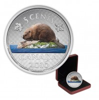 2016 Canada Big Coin Series 5 cent Beaver - 5 oz Fine Silver Coin (Coloured)