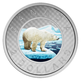 2016 Canadian $2 Big Coin Series: Polar Bear 5-ounce Fine Silver Coloured Toonie Coin