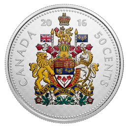 2016 Canadian 50-Cent Big Coin Series: Coat of Arms 5-ounce Fine Silver Coloured Coin
