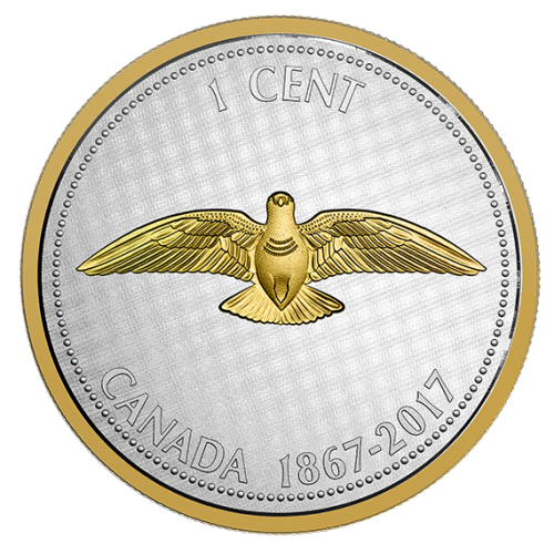 2017 (1867-) Canadian 1-Cent Big Coin Series Alex Colville Designs: Rock Dove 5-ounce Fine Silver & Gold-plated Penny Coin