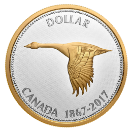 2017 (1867-) Canadian $1 Big Coin Series Alex Colville Designs: Goose 5-ounce Fine Silver & Gold-plated Dollar Coin