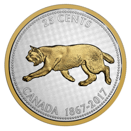 2017 (1867-) Canadian 25-Cent Big Coin Series Alex Colville Designs: Bobcat 5-ounce Fine Silver & Gold-plated Quarter Coin
