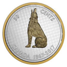 2017 (1867-) Canadian 50-Cent Big Coin Series Alex Colville Designs: Howling Wolf 5-ounce Fine Silver & Gold-plated Half Dollar Coin