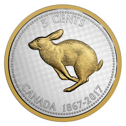 2017 (1867-) Canadian 5-Cent Big Coin Series Alex Colville Designs: Rabbit 5-ounce Fine Silver & Gold-plated Coin